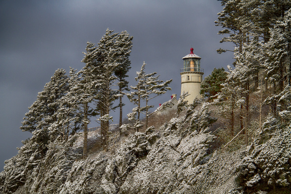 Heceta Lighthouse after the Snowfall