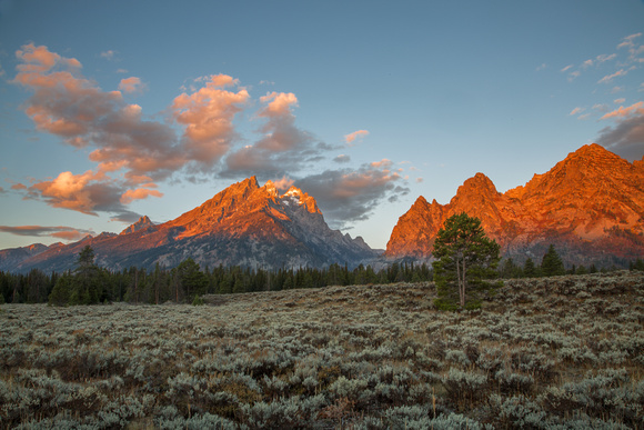 First Light on Grand Teton and Cascade Canyon, Grand Teton National Park, Wyoming