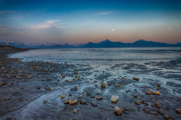 Moonrise over the Chugach Mountains from the Homer Spit