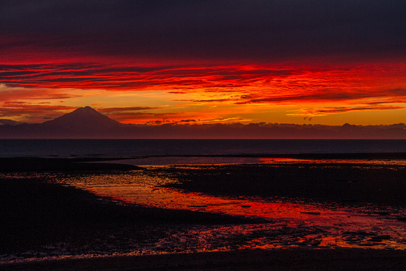 Sunset over Mount Redoubt and the Cook Inlet