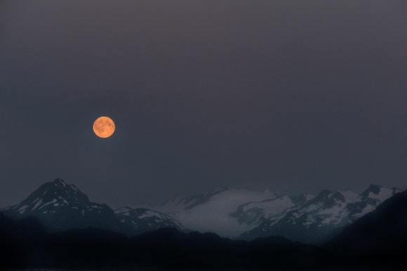 Moonrise over the Chugach Mountains, Homer