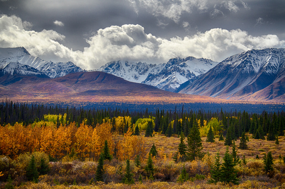 Autumn advances into the Wrangell Mountains