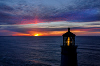 Sunset beyond Heceta Head Light.
